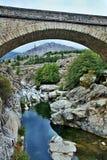 Corsica-bridge over the river Golo. A view of the bridge over the river Golo on the island of Corsica in France Stock Photo