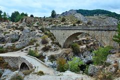 Corsica-bridges over the river Golo. View on the bridges over the river Golo on the island of Corsica Royalty Free Stock Photos