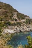 Corsica, Cap Corse, Toren van Losse, Toren van l ` Osse, Haute-Corse, Genoese-toren, Frankrijk, Europa, eiland, windende weg Royalty-vrije Stock Afbeeldingen