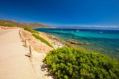 Corsica coastline near Ajaccio, France, Europe. Stunning Corsica coastline with rocky beach and tourquise clear water near Ajaccio, Corsica, France, Europe Royalty Free Stock Photography