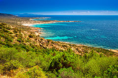 Corsica coastline with rocky beach and tourquise clear water near Ajaccio, Corsica, France, Europe. Stock Photography