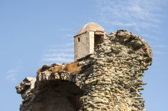 Corsica, Corse, Cap Corse, Upper Corse, France, Europe, island. Corsica, 28/08/2017: detail of the Tower of Santa Maria Chjapella 1549, ruined Genoese tower at Stock Images