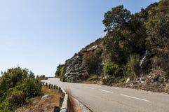 Corsica, dziki krajobraz, nakrętka Corse, Haute Corse, Francja, Europa, wyspa, wijąca droga Fotografia Stock