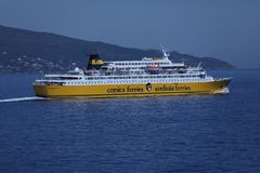 Free Corsica Ferries - Sardinia Ferries Cruising In The Ocean Royalty Free Stock Photography - 127513077