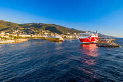 Corsica Ferry terminal in the harbour of Bastia on Corsica island Royalty Free Stock Photo
