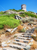 Corsica, France. The famous ancient tower in Corsica Stock Photo