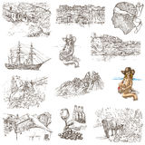 Corsica - An hand drawn collection on white Royalty Free Stock Image