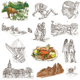 Corsica - An hand drawn collection on white Royalty Free Stock Photo