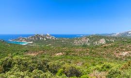 Corsica island, coastal landscape with mountains Stock Photos