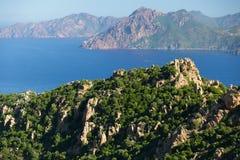Corsica island coastline. Corsica island rocky coastline called Calanche, france Stock Photos