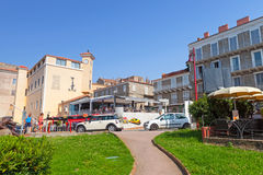 Corsica island, street view of resort port town Propriano. Propriano, France - July 3, 2015: Corsica island, street view of resort port town in a summer Royalty Free Stock Image