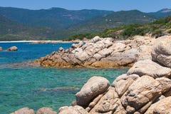 Corsica island, wild coastal landscape with stone Royalty Free Stock Image