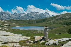 Corsica Lac de Nino. Corsica hiking trail to the lac de Nino Stock Images