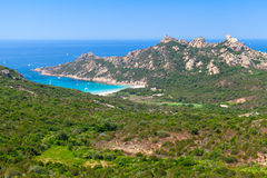 Corsica, landscape with mountains and beach Royalty Free Stock Images