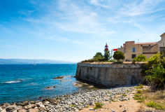 Corsica lighthouse at Ajaccio. Lighthouse placed near sea in Ajaccio, Corsica royalty free stock image
