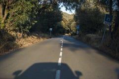 Corsica, nakrętka Corse, Śródziemnomorscy maquis na drodze, jeżdżenie, wijąca droga Fotografia Stock