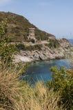 Corsica, nakrętka Corse, wierza Losse, wierza l ` Osse, Haute Corse, genueńczyka wierza, Francja, Europa, wyspa, wijąca droga Obrazy Stock
