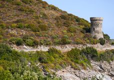 Corsica, nakrętka Corse, wierza Losse, wierza l ` Osse, Haute Corse, genueńczyka wierza, Francja, Europa, wyspa, wijąca droga Zdjęcie Stock