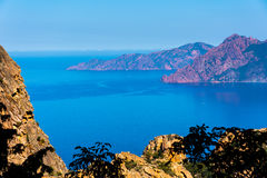 Corsica national nature park Scandola. Sea, mountains royalty free stock photo