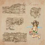 Corsica, podróż - Wręcza patroszoną wektor paczkę Zdjęcie Stock