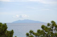 Capraia, Corsica, Corse, Cap Corse, sea, Upper Corse, France, Europe, island, summer,. Corsica, 03/09/2017: the profile of Capraia, the little volcanic island in Stock Photos