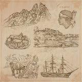 Corsica, Reis - Hand getrokken vectorpak Royalty-vrije Stock Afbeeldingen