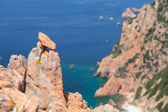 Corsica. Rocks and sea in hot summer time Royalty Free Stock Photos