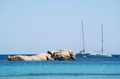 Corsica, Santa Giulia beach, sea, south, coastline, France, Europe, island, summer,. Corsica, 04/09/2017: sailboats in the Mediterranean Sea at the Santa Giulia Stock Photos
