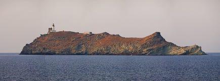 Ile de la Giraglia, Giraglia island, lighthouse, Barcaggio, Ersa, Cap Corse, Cape Corse, Haute-Corse, Corsica, France, Europe royalty free stock image