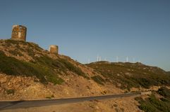 Col de la Sierra, Haute Corse, Cape Corse, Corsica, Upper Corsica, France, Europe, island. Corsica, 28/08/2017: sunset on the ruined Genoese Towers 16th century Royalty Free Stock Photo