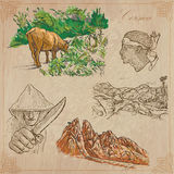 Corsica, Travel - Hand drawn vector pack. Travel, CORSICA. Collection of an hand drawn vector illustrations. Freehand sketching. Background and text are . Easy Royalty Free Stock Image