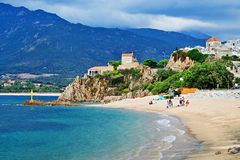 Corsica-view of the beach in Propriano. A view of the beach in town Propriano on the island of Corsica in France Stock Photos