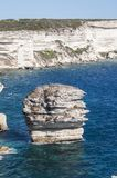 Corsica, Bonifacio, Strait of Bonifacio, beach, Mediterranean Sea, limestone, cliff, rocks, Bouches de Bonifacio. Corsica, 05/09/2017: view of the breathtaking Stock Image