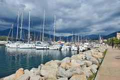 Corsica-view of the harbor in Propriano. View of the harbor in town Propriano on the French island of Corsica Royalty Free Stock Image