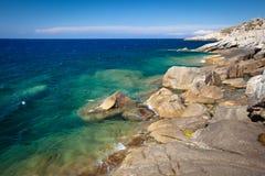 Corsica west coast calanches of Scandola Stock Photography