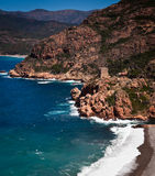 Corsica west coast calanches of Scandola Stock Images