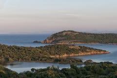 Corsica wonderful coastline landscape. Corsica wonderful coastline turquoise sea water and red rocks Stock Photos
