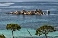 Corsica wonderful coastline landscape. Corsica wonderful coastline turquoise sea water and red rocks Royalty Free Stock Photo