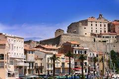 Corsicaanse huizen en gebouwen Royalty-vrije Stock Afbeeldingen