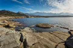 Corsican coastline and mountains at Punta Caldanu near Lumio Royalty Free Stock Photography