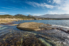 Corsican coastline and mountains at Punta Caldanu near Lumio Stock Photos