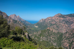 Corsican mountains with the tiny village Evisa Stock Photo