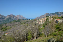 Corsican mountains with the tiny village Evisa Stock Photography