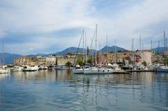 Corsican port Saint-Florent stock image