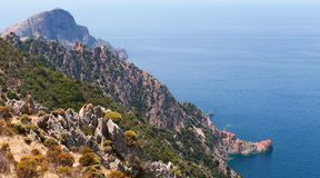 Corsican rocks and sea in summer. Landscape Royalty Free Stock Images