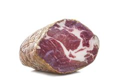 Corsican traditional delicatess coppa on a white background Stock Image