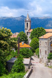 Corsican village street view, old stone houses Stock Image