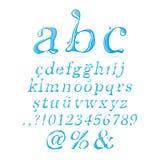 Corsivo di lettera minuscola di alfabeto dell'acqua Fotografia Stock