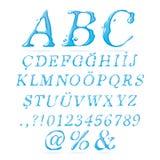 Corsivo di maiuscola di alfabeto dell'acqua Fotografie Stock