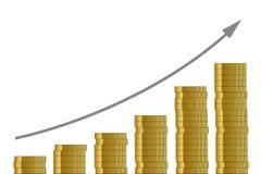 Corso aumentante molte monete dorate su fondo bianco illustrazione di stock